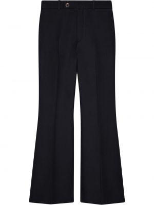 Wełniany czarny spodni przycięte spodnie z kieszeniami Gucci
