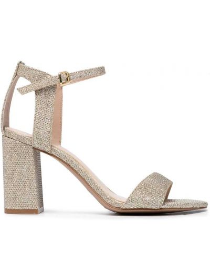 Złote sandały na obcasie peep toe Carvela