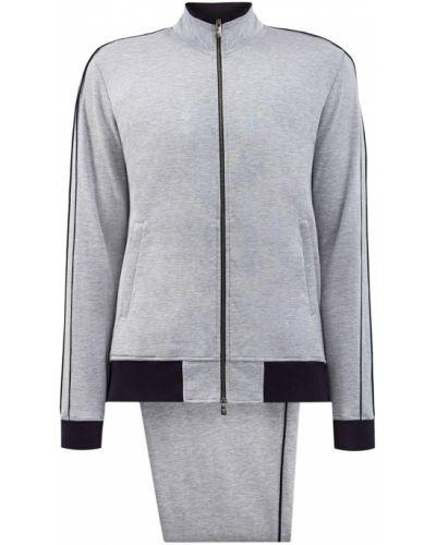 Хлопковый серый спортивный костюм эластичный Capobianco