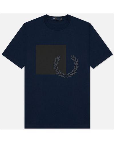 Синяя хлопковая футболка Fred Perry