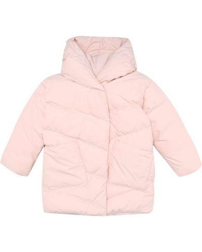 Пуховая теплая розовая стеганая куртка с жемчугом Bonpoint