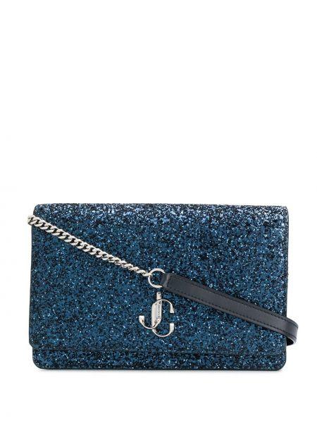Синяя маленькая сумка на молнии с карманами Jimmy Choo