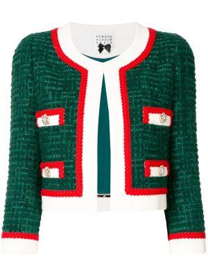 Зеленый пиджак твидовый на пуговицах Edward Achour Paris
