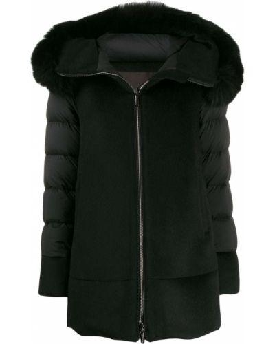 Шерстяное черное длинное пальто с опушкой Moorer