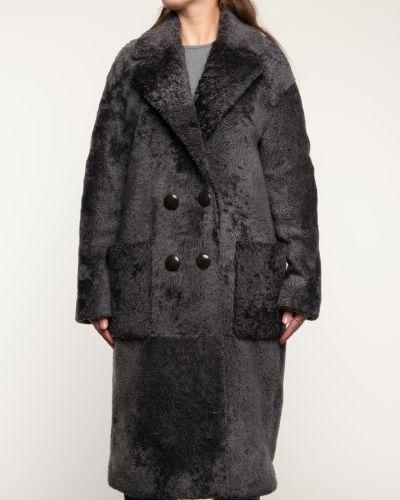 Прямое серое пальто с воротником Alcato