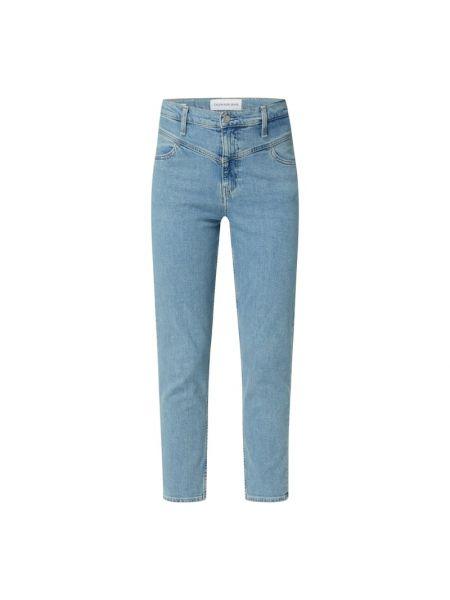 Bawełna niebieski jeansy z kieszeniami z paskami Calvin Klein Jeans