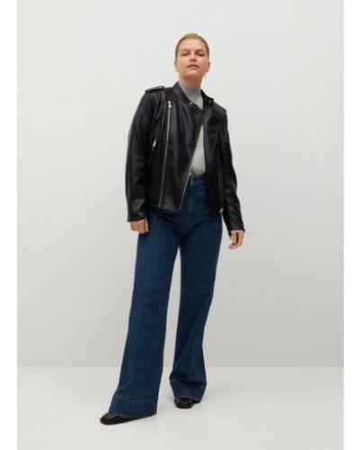 Кожаный черный удлиненный пиджак с подкладкой Mango