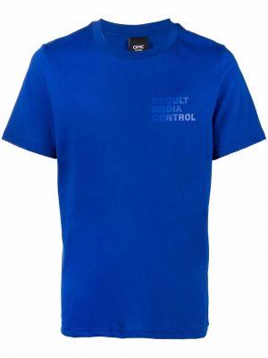 Niebieski t-shirt bawełniany krótki rękaw Omc