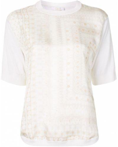 Белая блузка с короткими рукавами оверсайз Chloé