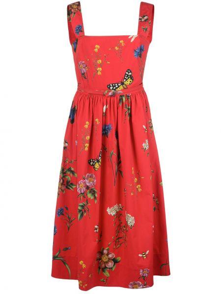 Платье миди в рубчик с поясом Oscar De La Renta