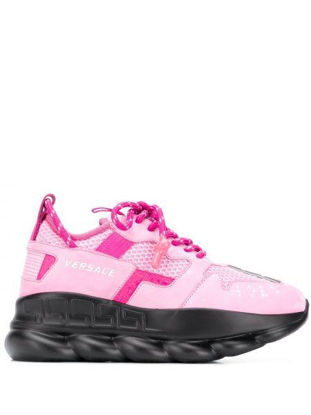 Różowe sneakersy skorzane sznurowane Versace