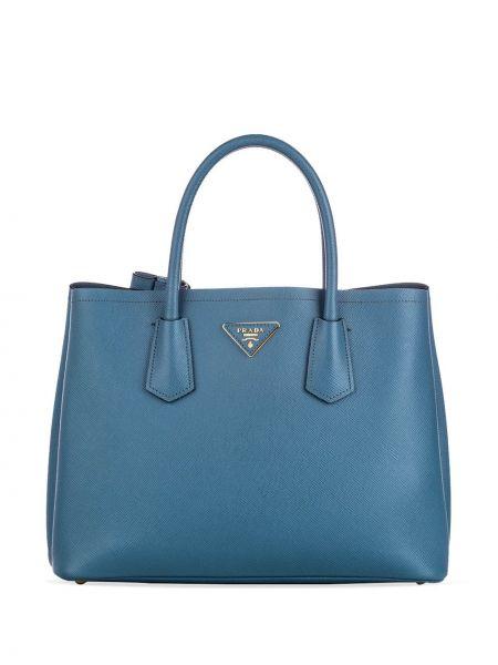 Синяя сумка-тоут с завязками металлическая с подкладкой Prada Pre-owned