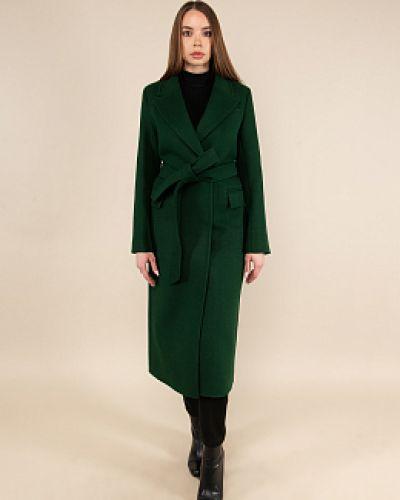 Зеленое шерстяное пальто с воротником заря моды