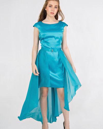 Приталенное шифоновое вечернее платье на молнии с бантом Lila Classic Style