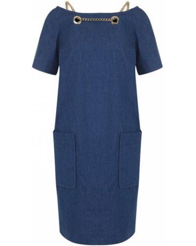 Платье миди на бретелях с вырезом лодочка джинсовое Weill