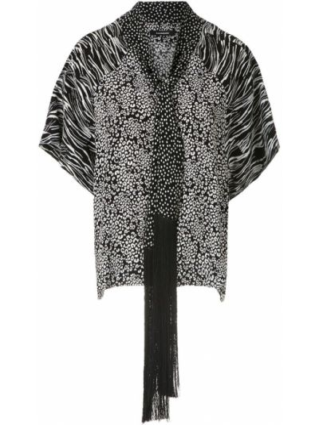 С рукавами черная блузка из вискозы À La Garçonne