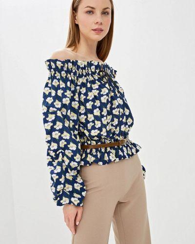 Блузка с открытыми плечами синяя весенний Tutto Bene