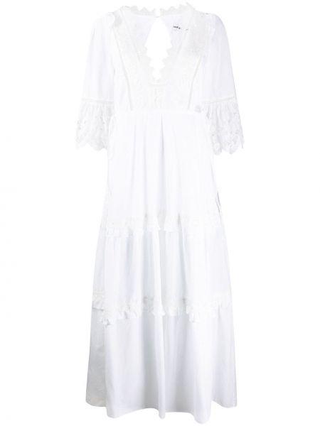 Белое расклешенное платье макси на молнии с декоративной отделкой Self-portrait