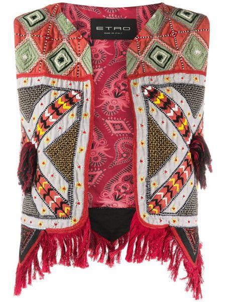 Kamizelka bez rękawów bawełniana z dekoltem w serek Etro