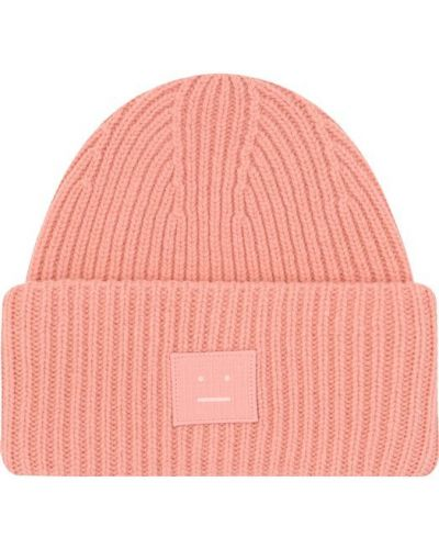 Розовая вязаная шапка Acne Studios