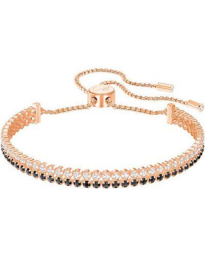 Золотой браслет металлический с подвесками из золота Swarovski