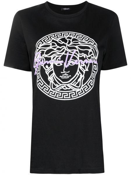 Прямая черная футболка с вырезом Versace