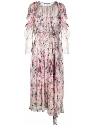Шелковое платье - серое Alberta Ferretti