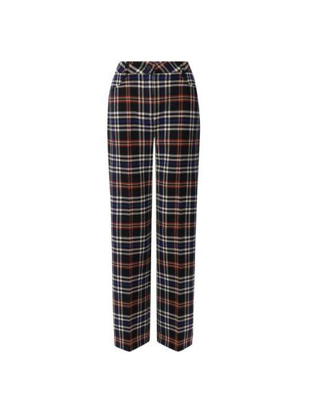 Прямые синие шерстяные брюки с воротником Paul&joe