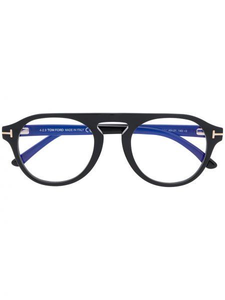 Prosto czarny klipsy okrągły Tom Ford Eyewear