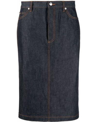 Синяя плиссированная джинсовая юбка с карманами A.p.c.