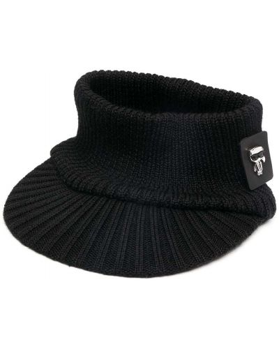 Prążkowany czarny daszek wełniany Karl Lagerfeld