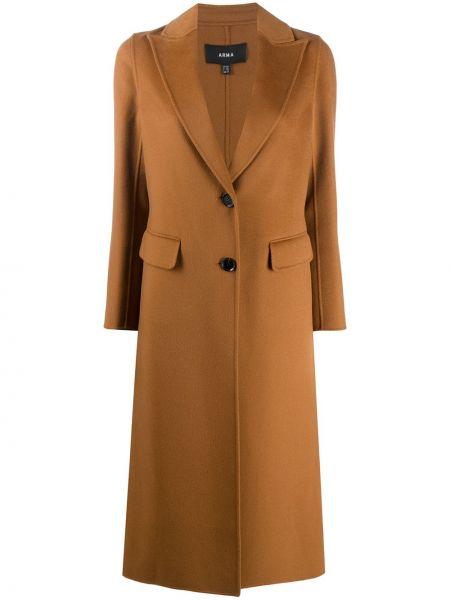 С рукавами однобортное шерстяное пальто на пуговицах Arma