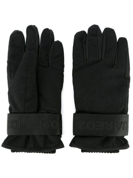 Prążkowane czarne rękawiczki Dsquared2