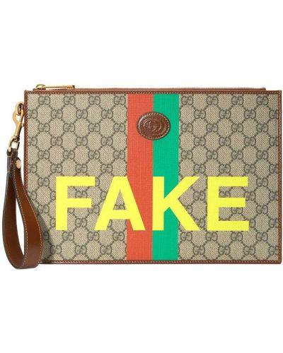 Bawełna z paskiem beżowy torba sprzęgło z prawdziwej skóry Gucci