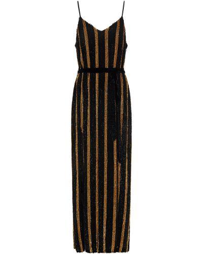Czarna sukienka długa z cekinami w paski Retrofete