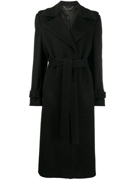 Прямое шерстяное черное длинное пальто Federica Tosi