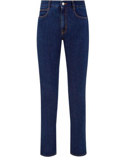 Хлопковые синие джинсы классические с сеткой с отворотом Stella Mccartney