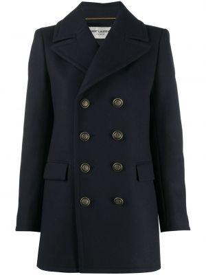 Шерстяное черное длинное пальто двубортное Saint Laurent