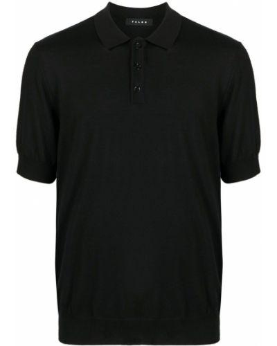 Czarna koszula krótki rękaw wełniana Falke