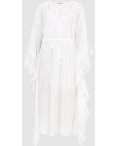 Кружевное белое платье миди оверсайз Twin-set