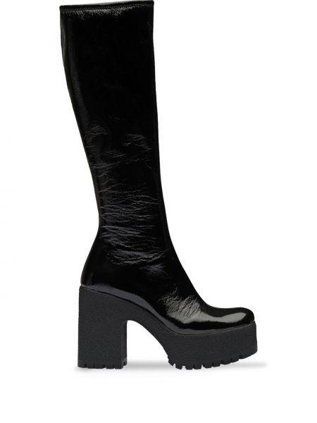 Czarny buty na platformie z prawdziwej skóry na platformie na pięcie Miu Miu