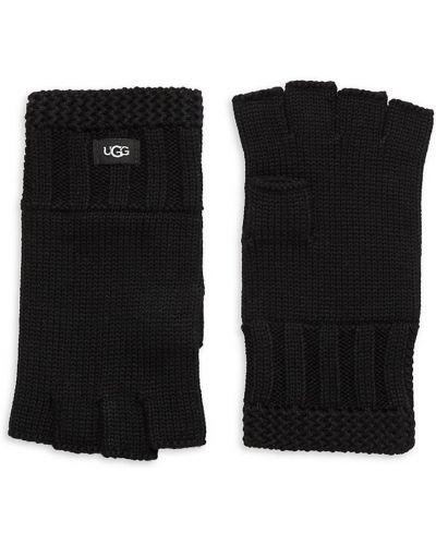 Rękawiczki bez palców wełniane - czarne Ugg
