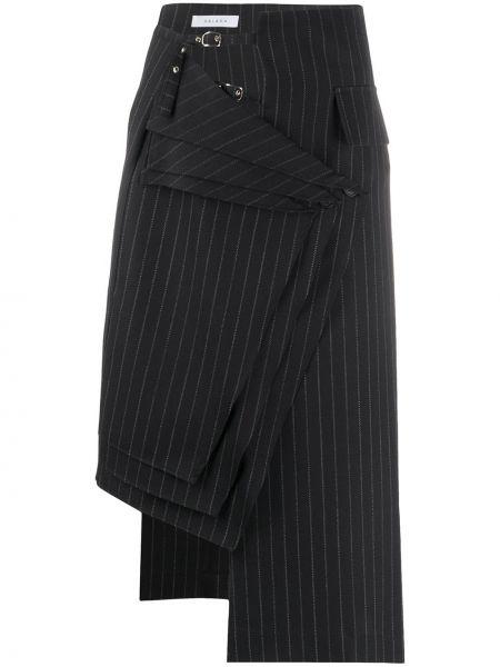 Шерстяная черная ажурная юбка миди в рубчик Delada