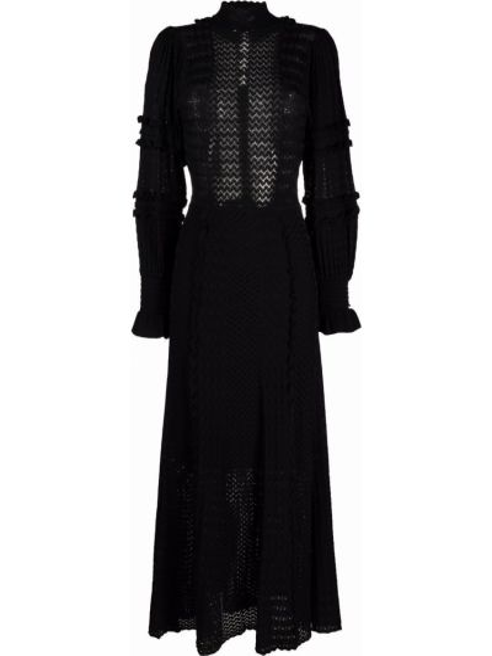Черное расклешенное платье Sandro Paris