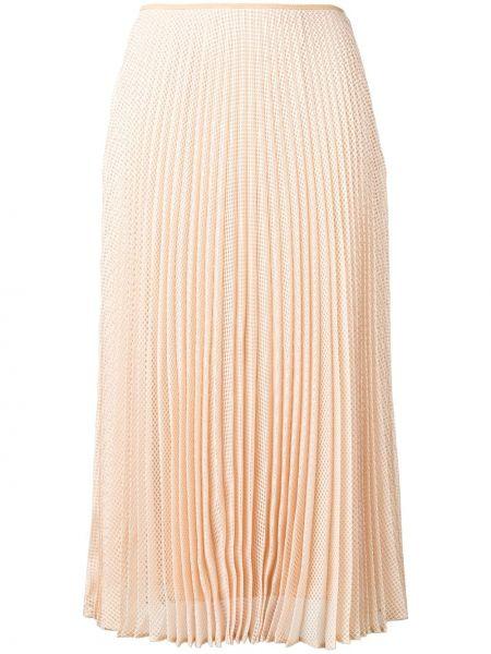 Шелковая расклешенная юбка миди в рубчик Fendi