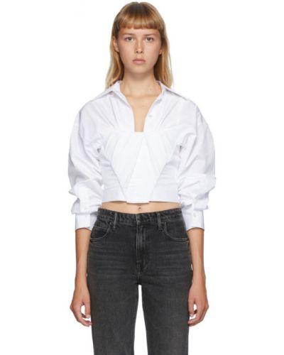 Biała koszula krótki rękaw bawełniana Alexander Wang