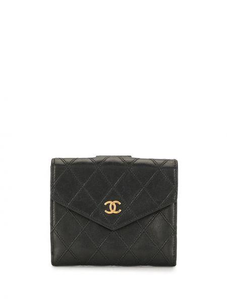 Skórzany pikowana czarny portfel skórzany z gniazdem Chanel Pre-owned