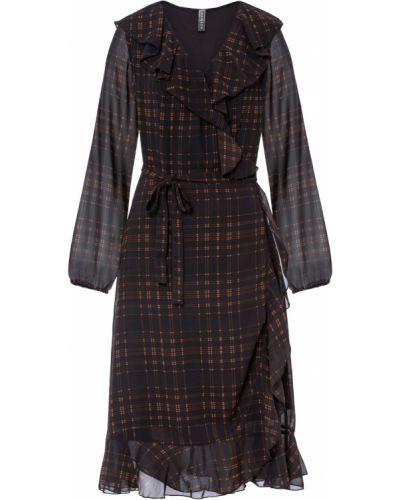 Шифоновое платье миди - черное Bonprix