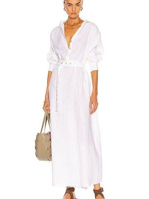 Белое платье с поясом Asceno