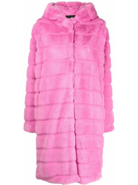Różowy długi płaszcz z kapturem Apparis